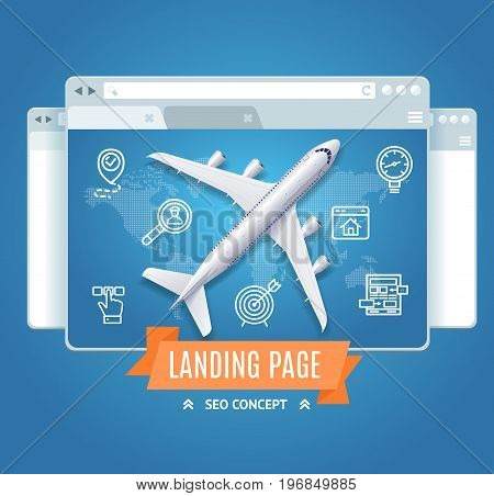 Landing Page Search Engine Seo Concept Screen Project Layout Design Interface Website. Vector illustration