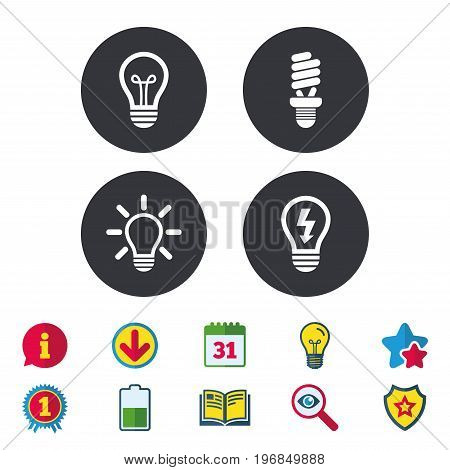 Light lamp icons. Fluorescent lamp bulb symbols. Energy saving. Idea and success sign. Calendar, Information and Download signs. Stars, Award and Book icons. Light bulb, Shield and Search. Vector