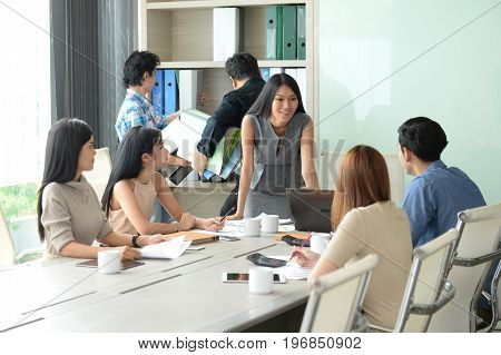 Business cocept : Employees meeting the guidelines of work.