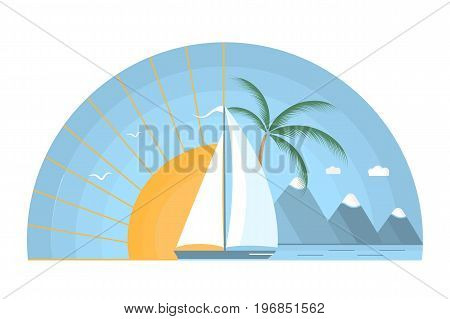 Sailing boat in the sea against the background of the rising sun. Tropical island mountains palm tree gulls in the sky. The concept of a summer holiday in a flat style.