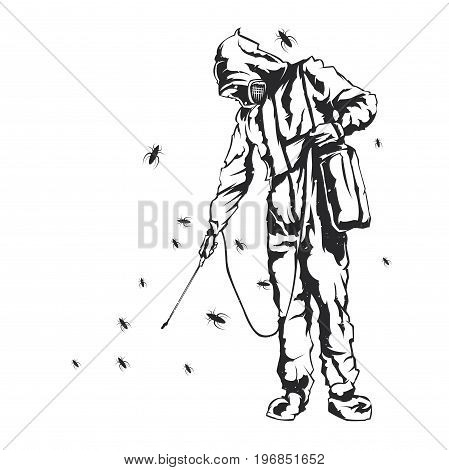 Isolated vector illustration of a disinfection men