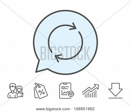 Refresh line icon. Rotation arrow sign. Reset or Reload symbol. Report, Sale Coupons and Chart line signs. Download, Group icons. Editable stroke. Vector