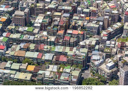 Aerial view of Taipei city downtown skyline of Taiwan