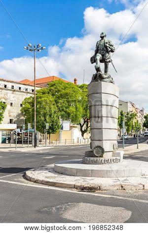 Ferdinand Magellan Statue in Lisbon Portugal