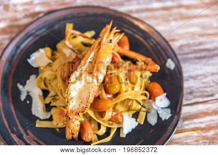 Giant Tiger Prawn Pasta, Italian groumet cuisine