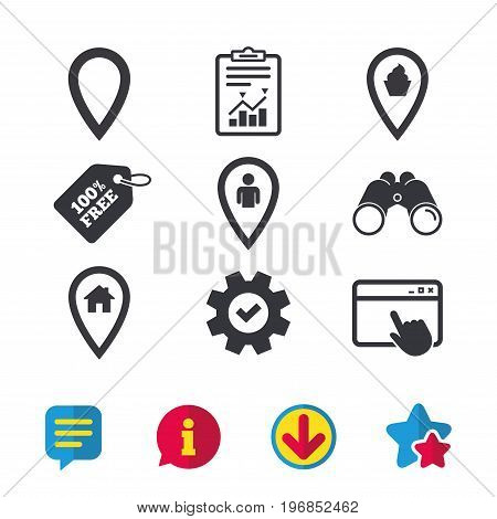 Map pointer icons. Home, food and user location symbols. Restaurant and cupcake signs. You are here. Browser window, Report and Service signs. Binoculars, Information and Download icons. Vector