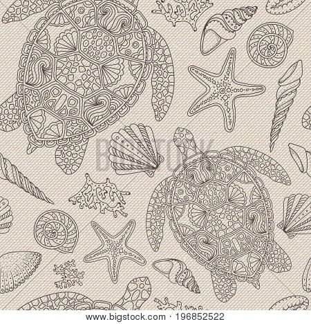 Realistic seamless cotton texture with zen art nautical theme - sea shells starfish seastar mollusk silhouettes. Abstract rough sackcloth fabric. Beige linen canvas texture. Vector design.