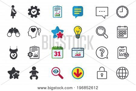 Maternity icons. Baby infant, pregnancy and dummy signs. Child pacifier symbols. Head with heart. Chat, Report and Calendar signs. Stars, Statistics and Download icons. Question, Clock and Globe