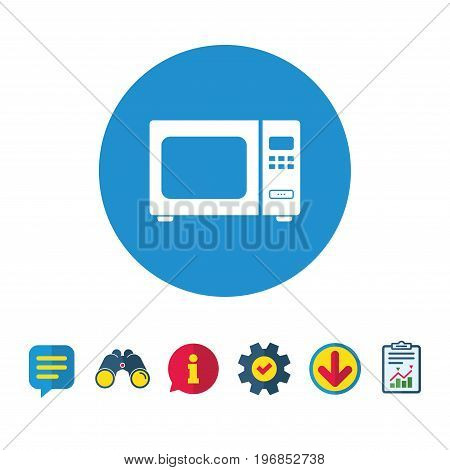 Microwave oven sign icon. Kitchen electric stove symbol. Information, Report and Speech bubble signs. Binoculars, Service and Download icons. Vector