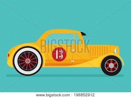Vector Hotrod Flat. Old School Race Car.