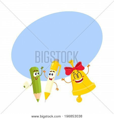 Cute, funny smiling pen, pencil, golden bell characters, back to school concept, cartoon vector illustratio with space for text. Happy school characters, mascots - pen, pencil, school bell