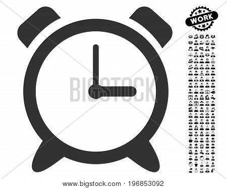Alarm Clock icon with black bonus professional pictograph collection. Alarm Clock vector illustration style is a flat gray iconic symbol for web design, app user interfaces.