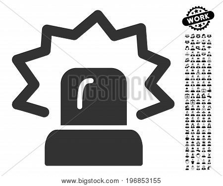 Alarm icon with black bonus profession symbols. Alarm vector illustration style is a flat gray iconic element for web design, app user interfaces.