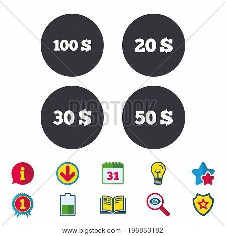Money in Dollars icons. 100, 20, 30 and 50 USD symbols. Money signs Calendar, Information and Download signs. Stars, Award and Book icons. Light bulb, Shield and Search. Vector