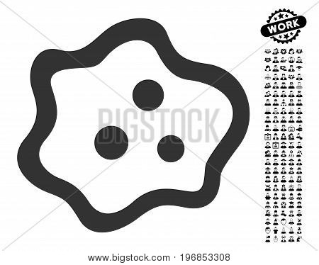 Amoeba icon with black bonus job pictures. Amoeba vector illustration style is a flat gray iconic element for web design, app user interfaces.