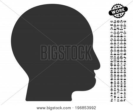 Bald Head icon with black bonus job pictograms. Bald Head vector illustration style is a flat gray iconic symbol for web design, app user interfaces.