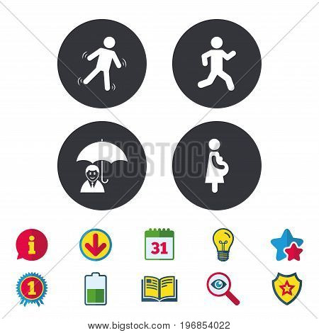 Businessman with umbrella icon. Human running symbol. Man love Woman or Lovers sign. Women Pregnancy. Life insurance. Calendar, Information and Download signs. Stars, Award and Book icons. Vector