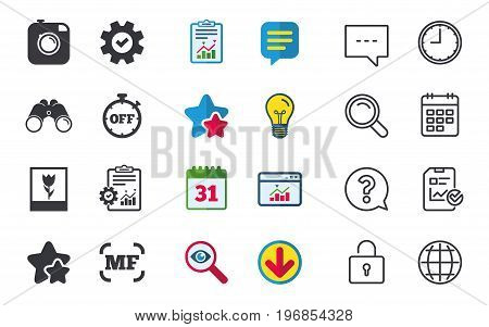 Hipster retro photo camera icon. Manual focus symbols. Stopwatch timer off sign. Macro symbol. Chat, Report and Calendar signs. Stars, Statistics and Download icons. Question, Clock and Globe. Vector