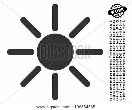 Brightness icon with black bonus work pictures. Brightness vector illustration style is a flat gray iconic symbol for web design, app user interfaces.