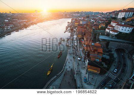 Douro river and Ribeira from Dom Luis I bridge, Porto, Portugal.