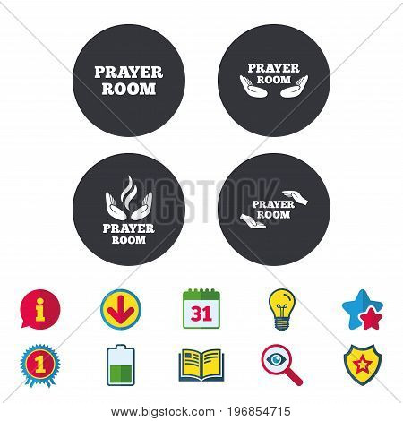 Prayer room icons. Religion priest faith symbols. Pray with hands. Calendar, Information and Download signs. Stars, Award and Book icons. Light bulb, Shield and Search. Vector