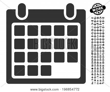 Calendar Appointment icon with black bonus work icon set. Calendar Appointment vector illustration style is a flat gray iconic symbol for web design, app user interfaces.