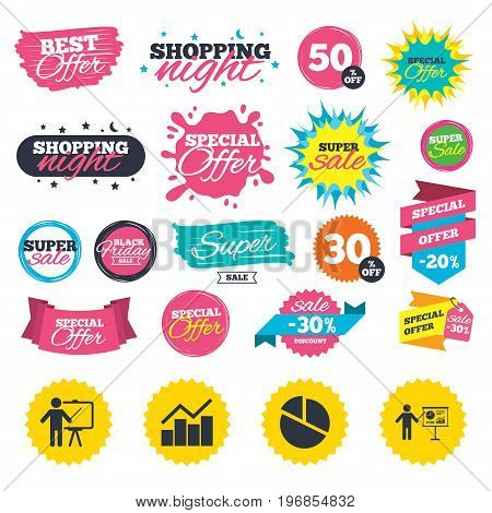 Sale shopping banners. Diagram graph Pie chart icon. Presentation billboard symbol. Man standing with pointer sign. Web badges, splash and stickers. Best offer. Vector