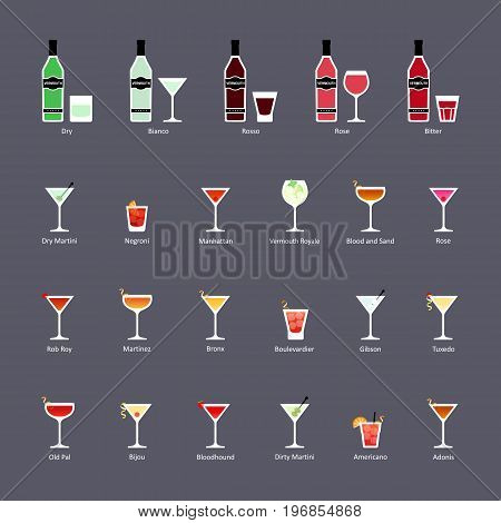 Types of vermouth and cocktails with vermouth set of flat icons. Vector