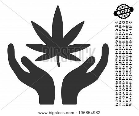 Cannabis Care icon with black bonus work icon set. Cannabis Care vector illustration style is a flat gray iconic symbol for web design, app user interfaces.