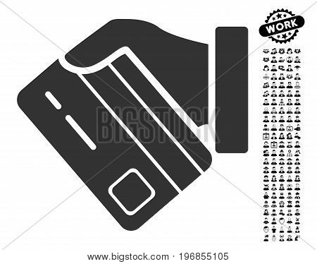 Card Payment icon with black bonus people graphic icons. Card Payment vector illustration style is a flat gray iconic symbol for web design, app user interfaces.