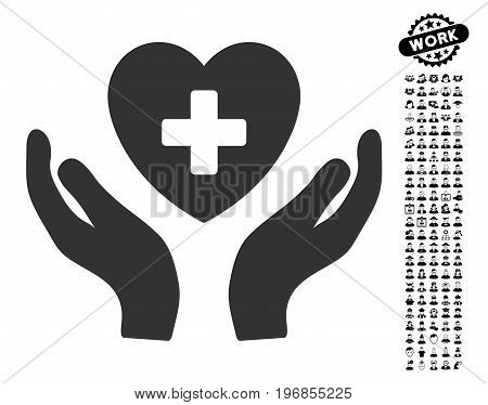 Cardiology Care Hands icon with black bonus men graphic icons. Cardiology Care Hands vector illustration style is a flat gray iconic symbol for web design, app user interfaces.