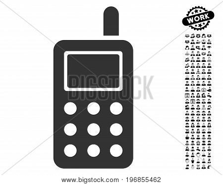 Cell Phone icon with black bonus work clip art. Cell Phone vector illustration style is a flat gray iconic element for web design, app user interfaces.