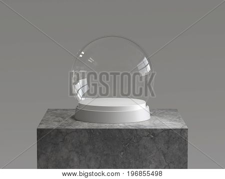 Empty snow glass ball with white tray on concrete podium. 3D rendering.