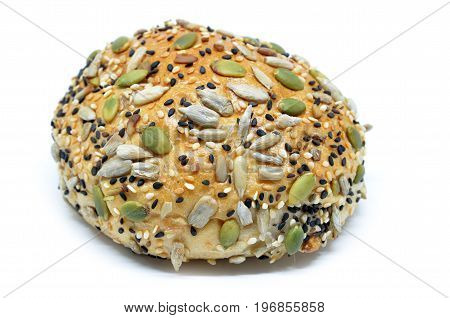Healthy Looking Bun With Pumpkin Seed, Sunflower Seed And Sesame