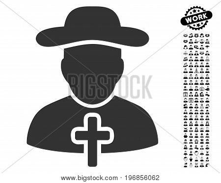 Cleric icon with black bonus people pictures. Cleric vector illustration style is a flat gray iconic element for web design, app user interfaces.