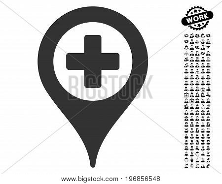 Clinic Pointer icon with black bonus people symbols. Clinic Pointer vector illustration style is a flat gray iconic symbol for web design, app user interfaces.