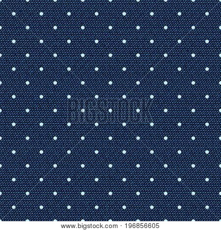 Dark blue jeans dotted seamless texture. Denim background with dots. Can be used for wallpaper pattern fills web page background surface textures. Denim texture
