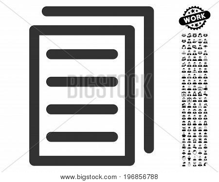 Copy Document icon with black bonus people images. Copy Document vector illustration style is a flat gray iconic element for web design, app user interfaces.
