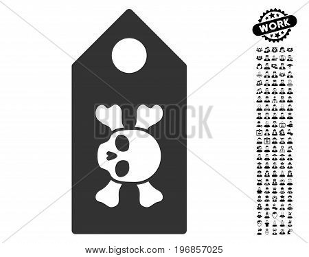 Death Label icon with black bonus work graphic icons. Death Label vector illustration style is a flat gray iconic element for web design, app user interfaces.