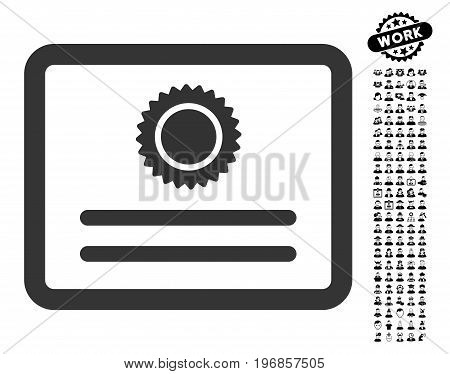 Diploma icon with black bonus professional images. Diploma vector illustration style is a flat gray iconic element for web design, app user interfaces.