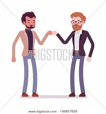 Businessmen in casual wear fist bumping. Friendly easy social setting, nonverbal communication. Formal manners concept. Vector flat style cartoon illustration, isolated, white background