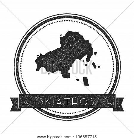 Skiathos Map Stamp. Retro Distressed Insignia. Hipster Round Badge With Text Banner. Island Vector I