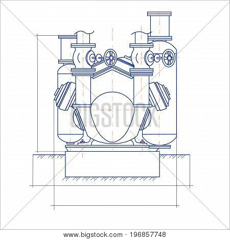 Free drawing of the compressor unit in two colors