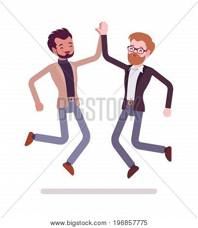 Businessmen highfive jumping. Celebrating a deal, project success, nonverbal communication and body language. Formal manners concept. Vector flat style cartoon illustration, isolated, white background