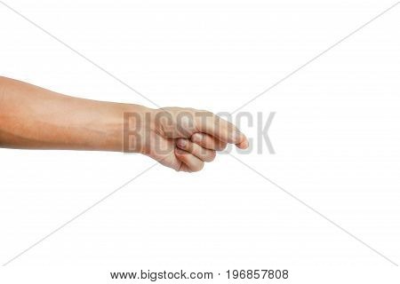Man manicured hand hold object or other isolated on white background. isolated on white background