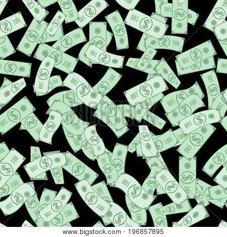 Dollar bills pattern, seamless background. Money rain. Black background. Vector illustration