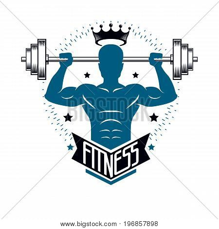 Bodybuilding weightlifting gym logotype sport club retro style vector emblem. With sportsman silhouette.