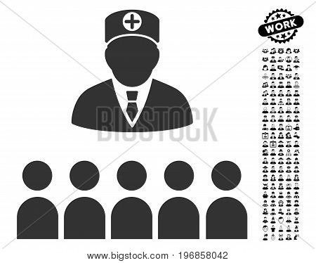 Doctor Class icon with black bonus job pictures. Doctor Class vector illustration style is a flat gray iconic element for web design, app user interfaces.