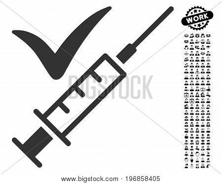 Done Vaccination icon with black bonus job clip art. Done Vaccination vector illustration style is a flat gray iconic symbol for web design, app user interfaces.