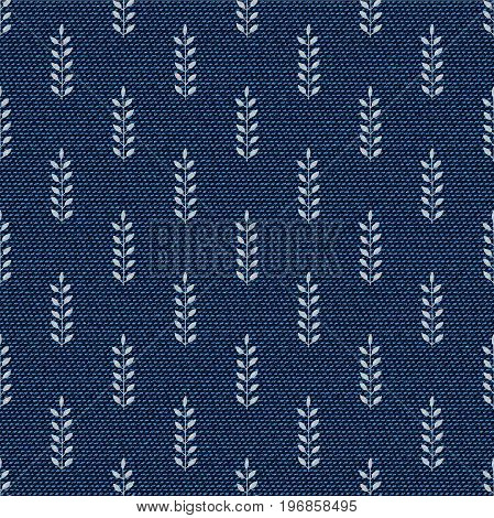 Dark blue jeans seamless texture. Denim background with branches with leaves. Can be used for wallpaper pattern fills web page background surface textures. Denim texture
